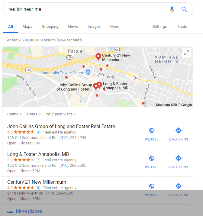 Google Places Results